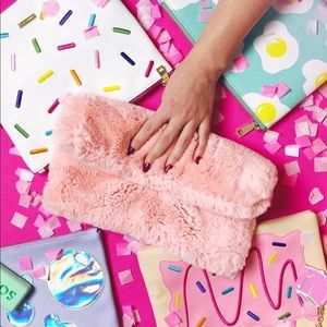StudioDIY fake fur pink clutch